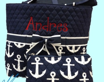 Monogrammed Diaper Bag/ Navy Anchor/ Quilted Diaper Bag/ FREE MONOGRAM