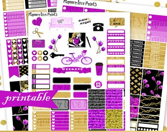 50%Off BLACK and GOLD DELUXE Printable Planner Stickers | Instant Download | Pdf and Jpg Format