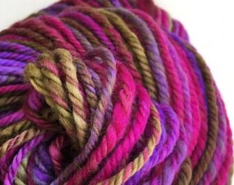 Handspun,  3ply chunky yarn.