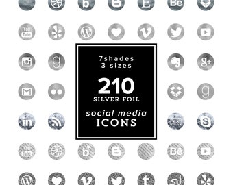 Silver foil Social Media Icons Set - 210 files - Silver Foil shades - Silver Icons - Silver Cliparts- 7 color tones 3 sizes INSTANT DOWNLOAD