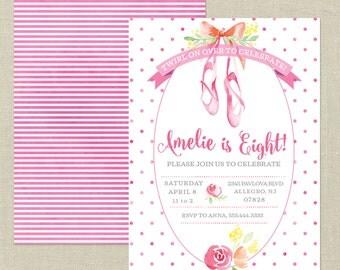 Twirl on Over Custom Birthday Invitation---Ballet, Ballerina Party, Ballet Shoes, Pink, Roses, Dance, Girl Birthday Party