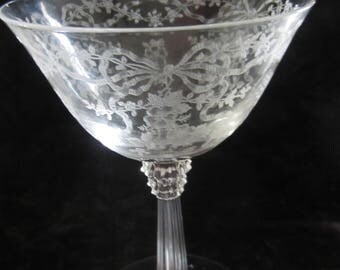 Set of  8 Fostoria June Clear Wine Goblets 5 1/2 Etched Bow, Ribbons, Flowers