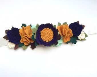 Felt flower crown with green leaves headband - navy, mustard, mint, cream with green and brown maple leaves