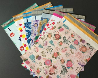 50 YOU CHOOSE Assorted Designer Poly Mailers 10x13  Paws Paisley Blue Purple Multi Color Dots Rabbits Red Flowers Envelopes Shipping Bags