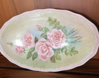 Swinnertons Vintage Dish. Oval Serving Dish. Vintage English Porcelain Dish or Shallow Bowl. Roses Design. Made in England  VCH0118