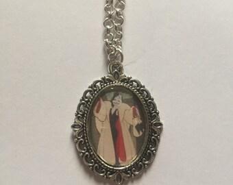 Cruella DeVille Silver Cameo Necklace