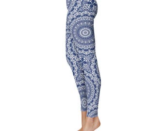 Indigo Yoga Leggings - Indigo Leggings, Blue and White Printed Leggings, Mandala Art Tights, Stretch Pants