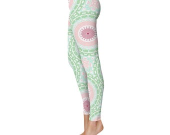 Cute Printed Leggings - Fun Leggings, Pink and Green Printed Tights, Stretchy Pants, Yoga Pants, Leggings for Women