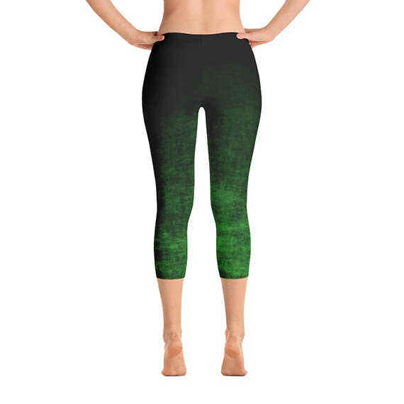 Green Ombre Capri Leggings - Green Capris, Grunge Green and Black ...