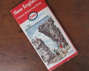 Esso Road Map Vintage New England Map