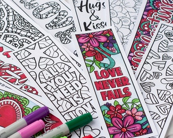 Love Coloring Bookmarks – Set of 12 Printable Bookmarks to color and make for a Valentine's Day Gift | Printable PDF adult coloring template