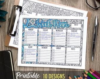 Weekly Planner Printable - 20 pack // Weekly schedule, printable planner insert, weekly agenda, organization printables, coloring planner