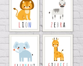 Safari Animal Prints, Nursery Decor, Baby Animal Prints, Safari Nursery Art Prints, Lion, Zebra, Elephant, Giraffe (Set of 4)