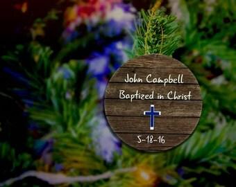 Baptized In Christ Christian Ornament Personalized Baptism Ornaments Boy Custom Ornament Baptism Gift For Christmas Ornament Wood Ornaments