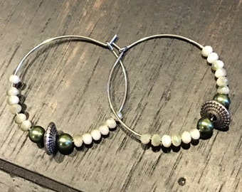 Cream and Green Hoops