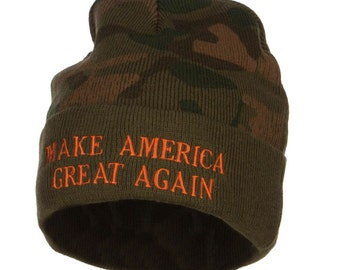 Make America Great Again Embroidered Camo Beanie