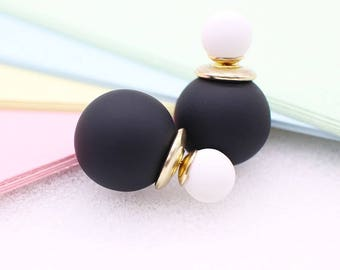 Dior Inspired Pearl Double Stud Earrings (PASTEL Colors)
