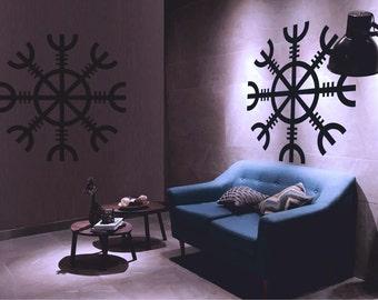 Viking Wall Decal Shield Sticker Aegishjalmur Pagan Rune Wallart Mystic Spirituality Religion Home Deko