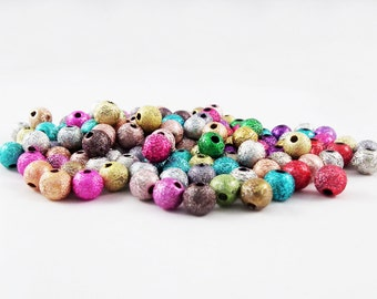 PD56 - Beads 4-6-10mm round Stardust metallic Spacer multicolored or gray / Grey or Mixed Colours 4-6-10mm Stardust Beads