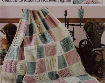63 Easy-To-Crochet Pattern Stitches, Leisure Arts Sampler Heirloom Afghan Pattern Booklet 555