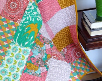 Throw Quilt-Lap Quilt-Modern Quilt- Mother's Day Gift-2nd Anniversary Gift-Girl Quilt-Birthday Gift-Homemade Quilt-Green Gold Coral-Retro