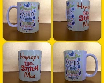 personalised mug cup lilo and stitch ohana means family left behind gift precent