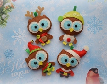 Owl decorations, Christmas owl ornament, Christmas tree ornament, Christmas decoration, Felt Christmas ornament, Christmas gift, Owl toy