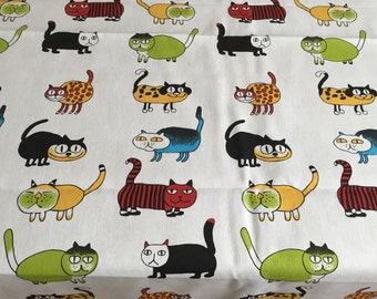 Tablecloth Cats Kids, red, green, yellow, black, blue