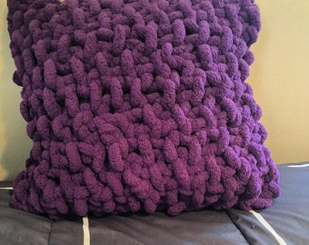 Ready to Ship! Chunky Knit Pillow // Grape