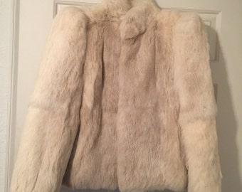 SUMMER S A L E-Genuine vintage white fur jacket-size small