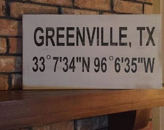 Latitude Longitude Hometown sign / wedding gift  / new home sign