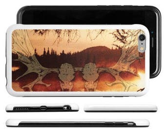 iPhone, Samsung, protective cell case, black metal cell case, atmospheric black metal, moose skull,