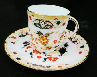 Antique Classic Imari color Wedgwood Demitasse tea demi cup and saucer