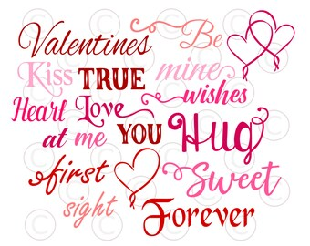 Valentines Words SVG Cut Files, Valentines Word Art, Valentines Day Cut  Files, Love