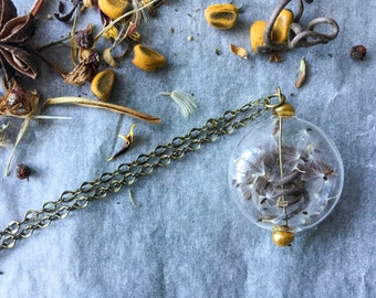Bucolic necklace with tendril, overhead showers and feather-botanical jewelry
