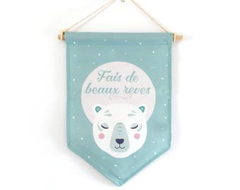 "Decorative flag, ""Sweet dreams"", polar bear, Star"