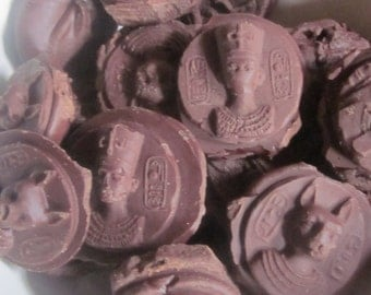 24 Gold Chocolate Coins, ANCIENT EGYPTIAN, Sun-Dance, Raw, Vegan, Cacao, 304g