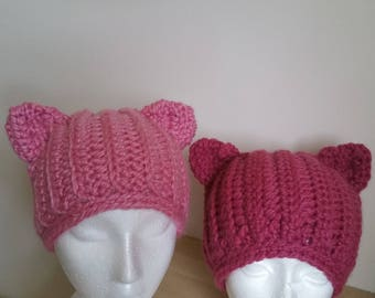 Pussycat Ears Hat, Pink Pussycat Hat, PussyHat Project, Pink Pussyhat, Kitty Hat, Cat Beanie, Winter Beanie, Animal Toque, Ponytail Beanie