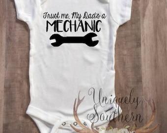 Trust Me, My Dad's a Mechanic Bodysuit, Car Lovers Baby Bodysuit, Baby Clothing, Dad is a mechanic, Car Lover, mechanic