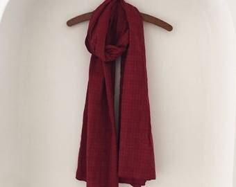 Boho Indian Scarf - long cotton scarf, oversized scarf, bohemian, summer,  linen scarf, red scarf, pashmina shawl,dupatta,  gift for women,