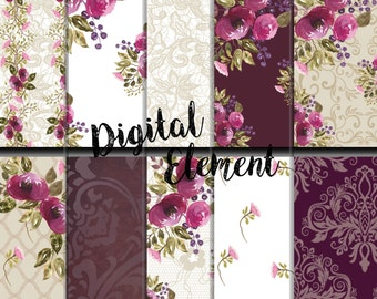 Digital Scrapbook Paper, Digital Watercolor Paper, Plum Watercolor Rose Digital Paper, Wedding Digital Paper, Vintage Rose Paper. No. P153