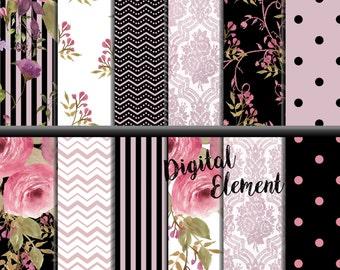 Digital Paper, Scrapbook Paper, Watercolor Digital Paper, Shabby Pink Rose Paper, Pink and Black Digital Paper, Background Paper. No. P159
