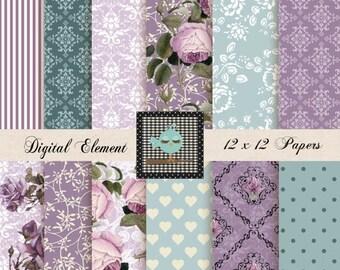 ON SALE Digital Paper, Scrapbook Paper, Floral Shabby Chic Digital Paper, Digital Printable Paper, Digital Cottage Rose. No. V 7.09