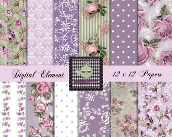 ON SALE Digital Paper, Digital Scrapbook Paper, Floral Lilac Digital Paper, Lavender Rose Paper, Shabby Chic Vintage Wallpaper Set. No. V7.2