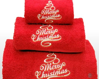 Merry Xmas Set of 3 embroidered red bath towels – Ref. Merry Christmas