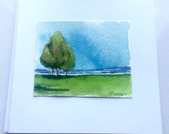 Landscape, Pen and Ink, Original Watercolour, Watercolor Greeting Card, Handmade, Handpainted