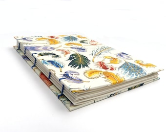 Hand made sketch book, journal with coptic binding, feather design