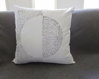 Minamalist Scandi decorative throw pillow block printed in shades of gray  / grey