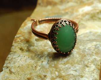 Antiqued copper ring, Adjustable aventurine ring, Aventurine statement ring, Genuine gemstone ring, Antiqued copper jewelry