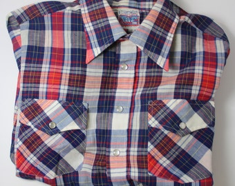 Put On Shop Sears For the Teen Male Medium Vintage 1970s Long Sleeve Button Down Shirt